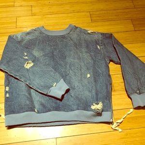Denim crew neck sweatshirt with side zips
